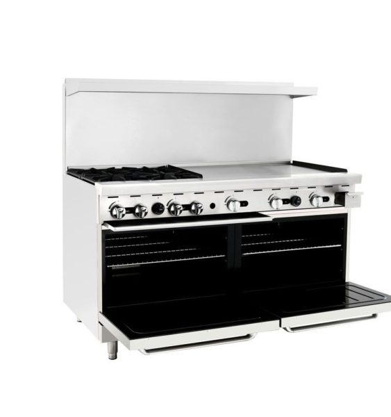 "60"" commercial oven with four burner range and 36"" griddle"